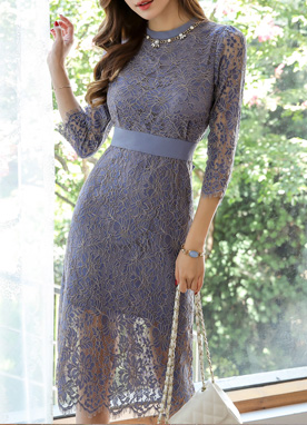 Two Tone Floral Lace Dress, Styleonme