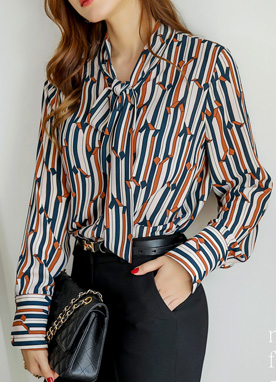 Luxury Retro Pinstripe Blouse, Styleonme