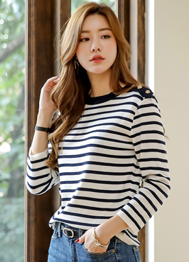 Gold Button Accent Stripe Knit Tee, Styleonme