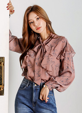 Floral Sketch Print Frill Blouse, Styleonme