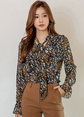 Floral Print Neck Tie Frill Chiffon Blouse, Styleonme