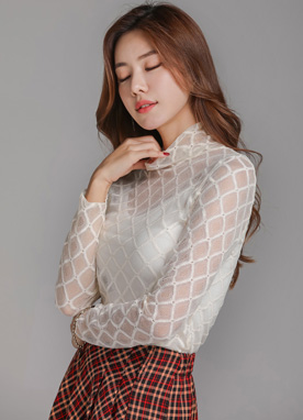 Diamond Lace Turtleneck Tee, Styleonme