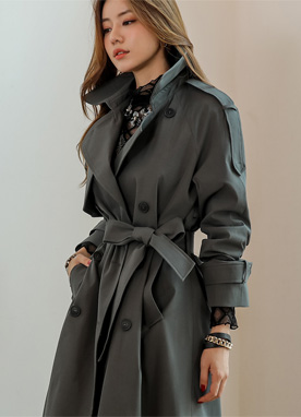 Shoulder Strap Detail Classic Trench Coat, Styleonme