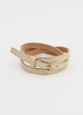 Squared Buckle Slim Belt, Styleonme
