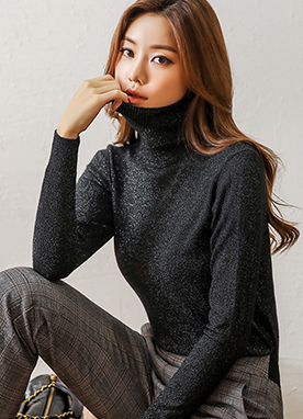 Metallic Milky Way Turtleneck Knit Top, Styleonme