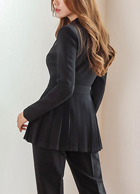 Pleat Detail Belted Jacket, Styleonme
