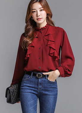Button-Up Ruffle Blouse, Styleonme