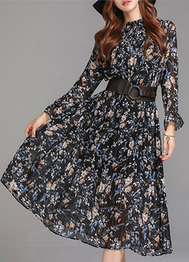 Floral Print Pleated Chiffon Dress, Styleonme