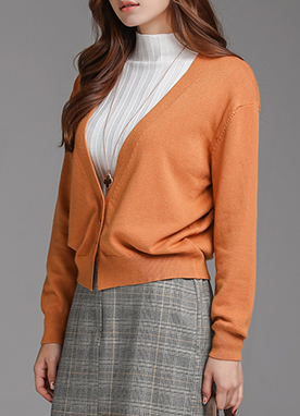 Three Button Deep V-Neck Cardigan, Styleonme