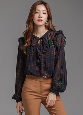 Check Print Frill Trim Blouse, Styleonme