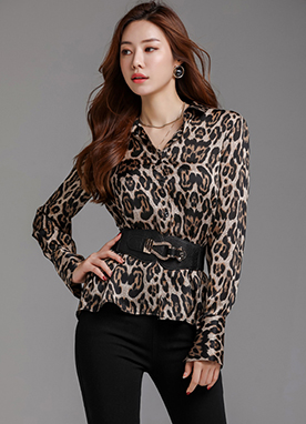 Leopard Print Collared Blouse, Styleonme