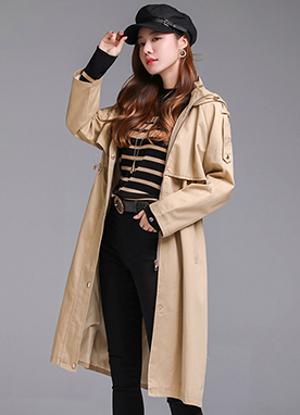 Hooded Long Safari Jacket, Styleonme