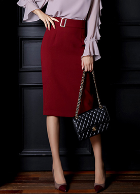 Squared Buckle Belt Pencil Skirt, Styleonme