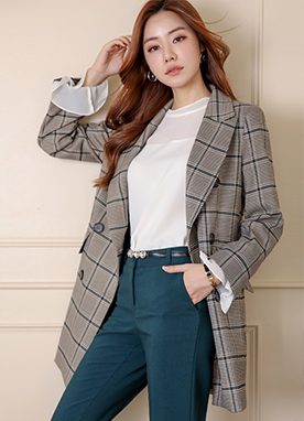 Check Print Boyish Fit Double-Breasted Jacket, Styleonme