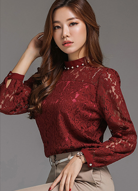 Pearl Neckline Semi-High Neck Lace Blouse, Styleonme