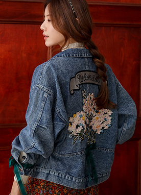Flower Embroidered Denim Jacket, Styleonme