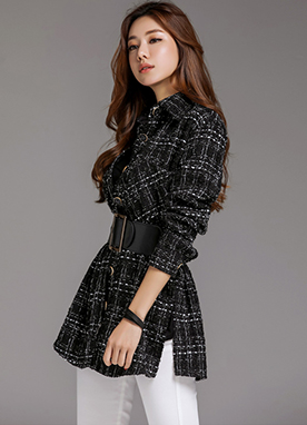 Loose Fit 2Way Tweed Collared Shirt, Styleonme