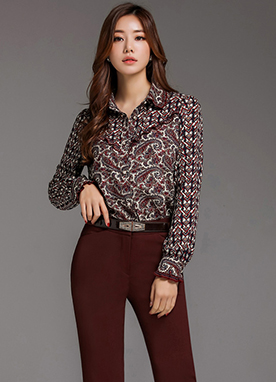 Paisley Print Ribbon Tie Collared Blouse, Styleonme