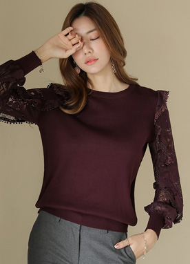 Lace Sleeve Soft Round Neck Knit Top, Styleonme