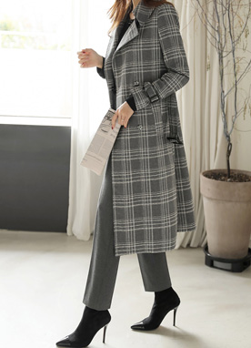 Check Print Belted Trench Coat, Styleonme