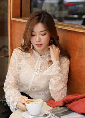 See-through Lace Ribbon Blouse, Styleonme