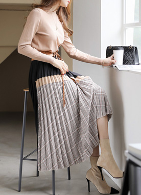 Autumn Mood Check Print Pleated Skirt, Styleonme