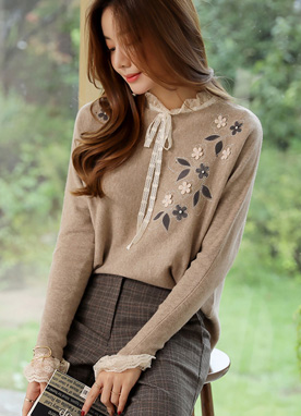Floral Applique Dolman Sleeve Knit Sweater , Styleonme