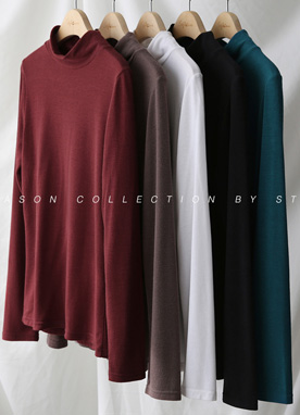Mock Neck Long Sleeve T-Shirt, Styleonme