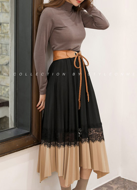 Lace Detail Pleated Long Skirt, Styleonme