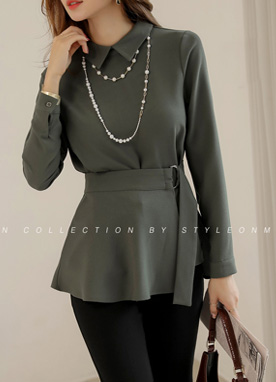 Elegant D-Ring Wrap Collared Blouse, Styleonme