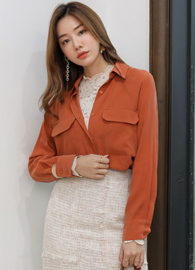 Modern Chic Outer Pocket Collared Shirt, Styleonme