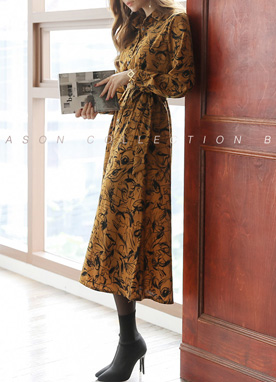Artistic Sketch Print Collared Long Dress, Styleonme