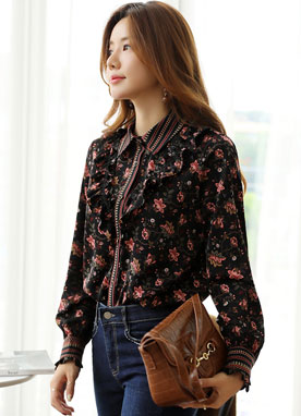 Bohemian Floral Print Collared Blouse, Styleonme