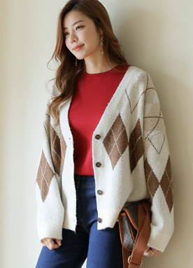 Argyle V-Neck Knit Cardigan, Styleonme