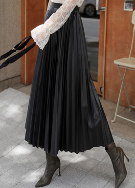 Glossy Long Pleated Skirt, Styleonme