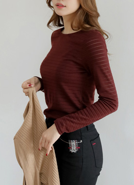 See-through Stripe Long Sleeve T-Shirt, Styleonme