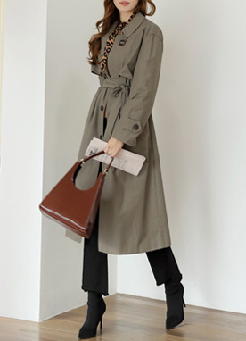 Single-Breasted Belted Long Jacket, Styleonme