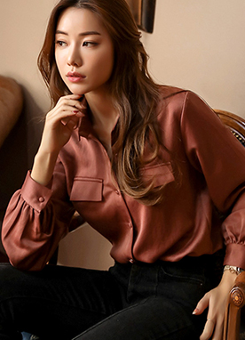 Loose Fit Silky Collared Blouse, Styleonme