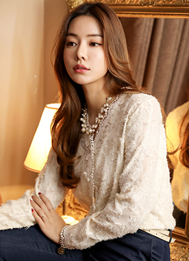 Feather Lace V-Neck Blouse, Styleonme
