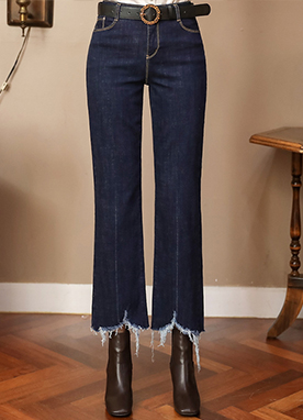 Frayed Hem Wide Boot-Cut Jeans, Styleonme