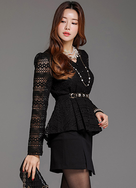 Full Lace High-Low Hem Peplum Blouse, Styleonme