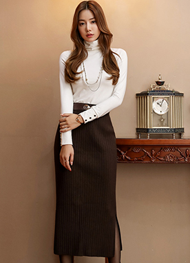 Wool-Blend Ribbed Knit Long Skirt, Styleonme