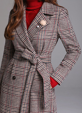 Brown Check Print Double-Breasted Long Coat, Styleonme