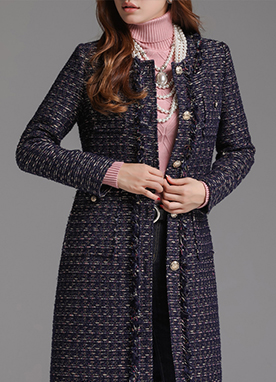 Luxe Navy Gold Tweed Long Jacket, Styleonme