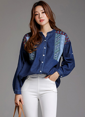 Ethnic Embroidery Denim Collared Shirt, Styleonme