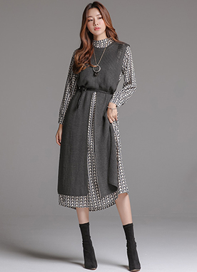 Long Knit Vest Patterned Dress Set, Styleonme
