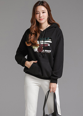 Mix Font Drawstring Hoodie, Styleonme