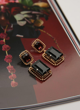 Squared Jewel Earrings, Styleonme