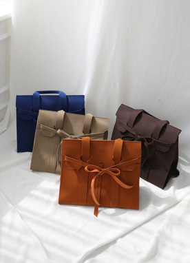 Ribbon Detail Suede Tote Bag, Styleonme