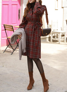 Check Print Collared Shirt Dress, Styleonme